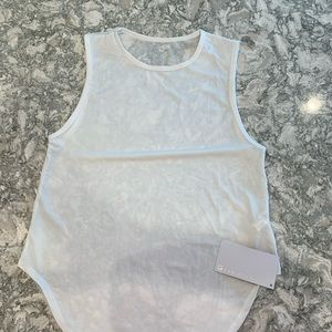 NWTO Fabletics white Mesh Tank with Sheer back